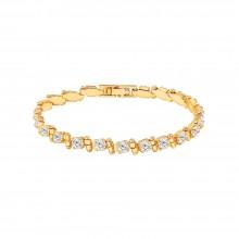 "Aobei Pearl Handmade Bracelets,4mm Cubic Zirconia Tennis Bracelet for Women Classic 18k Gold Faux Diamond Bracelet Dainty Iced Out Chain Bracelet for Wedding 7"",ETS-B605"