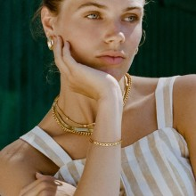 Aobei Pearl 18K Gold-Plated Flat Hinged Bracelet, Gold Link Chain Bracelet, Shiny Gold Chain Bracelet, 5mm Chain Bracelet, Fashion Lady Bracelet,Jewelry Making,ETS-B607