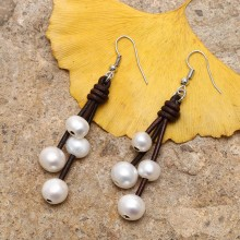 Aobei Pearl, Handmade Genuine Leather & Freshwater Pearl Earring, Dangle Earring, ETS-E003