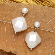 Aobei Pearl, Handmade Earring is Made of AAA 14-15 mm White Keshi Pearls, 7-7.5 mm Button Pearls and String Silver Accessory, ETS-E020