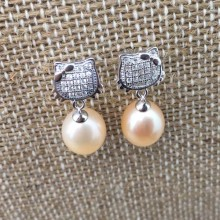 Aobei Pearl, Sterling silver earrings, pearl earrings, dangle pearl earrings, ETS-E034