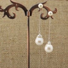 Aobei Pearl, Pearl dangle earrings, pearl threader earrings, dangle earrings, ETS - E039