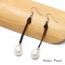 Aobei Pearl, Handmade Earring made of 10-12 mm White Freshwater Nuclear Pearl and Genuine Leather Cord, Pearl Dangle Earring, ETS-E041