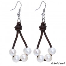 Aobei Pearl - Handmade White Potato Freshwater Pearl Earring with Genuine Leather Cord, Dangle Earring, Pearl Earring, ETS-E043