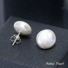 Aobei Pearl, Handmade Earring made of 14-15 mm White Coin Freshwater Pearl and 925 String Silver Accessory, Pearl Stud Earring, Bridal Earring, ETS-E046