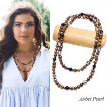 Aobei Pearl Handmade Necklace made of Natural Garnet, Freshwater Pearl, Natural Krocodylite and Crystal, Long Beaded Necklace, Pearl Necklace, ETS-S049
