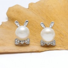 7-7.5 mm button white pearl earrings   ETS-E079