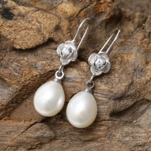 9-10 mm Women Pearls Earrings Genuine Freshwater Pearl with 925 Sterling Silver Earrings, Pearl Earrings Women Handmade Earrings Freshwater Natural Pearls for Girls ,ETS-E083