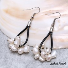 Aobei Pearl Handmade Earring with White Freshwater Pearls on Genuine Leather Cord, Women Leather Earring, Genuine Freshwater Pearl Earring, ETS-E084