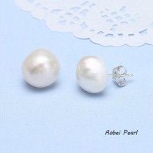Aobei Pearl Handmade Pearl Earring with 925 String Silver, Pearl Stud Earring, Bridal Earring, ETS-E085