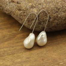 13-14mm of keshi or baroque pearls earrings with 925 sterling silver ear hooks,women fashion earring genuine freshwater white pearls,ETS-E086