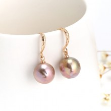 Women pearls earrings 12-13mm round with nuclear pearls earring with 24K gold-plated copper accessories,women fashion earrings genuine round pearls beads,ETS-E104