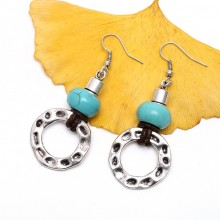 14mm * 8.5mm Turquoise earrings with alloy accessories,women fashion earring genuine leather earring,ETS-E107