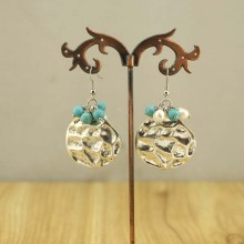 6-7mm Baroque white pearls earrings and 6mm turquoise earring with alloy accessories,genuine freshwater white pearls for women jewelry,ETS-E108
