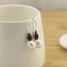 Aobei Pearl - 12-13 MM Rice White Freshwater Pearl Pure Silver Hook Fine Earrings ETS-E126