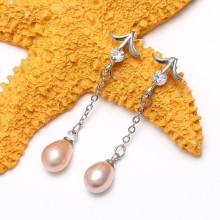 ETS-E187 AA 7-8mm rice freshwater pink pearl fashion fine earrings