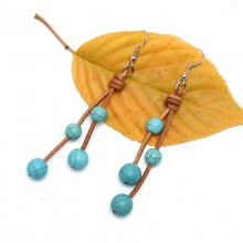 ETS-E191 8mm/10mm fashion new design turquoise earrings natural leather earrings