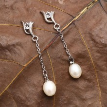 High Quality Freshwater Pearl Ear Pendant withe 7-8mm Rice Pearl ETS-E199