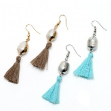 Aobei Pearl --- Handmade Earring with Gilt 11-12 mm White Rice Pearl Earring and Cotton Tread Tassel, Pearl Earring, Tassel Earring, ETS-E203
