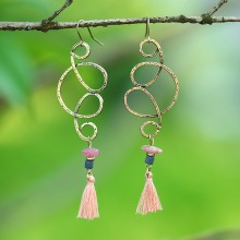 Aobei Pearl, Handmade Beibei Design Personality Earrings made of alloy accessories, cotton thread tassel and natural stone, ETS-E225