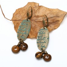 Aobei Pearl Handmade Earring made of Alloy Accessory and Tiger Eye Stone Beads in Vintage Style ! ETS-E248