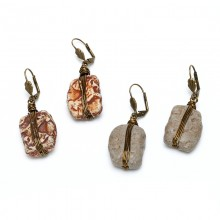 Aobei Pearl, Handmade Ceramics Earring with Copper Wire for Fashion Girls ! ETS-E251