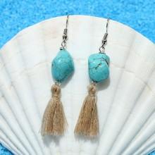 Aobei Pearl --- Handmade Earring with Turquoise and Cotton Thread Tassel, Dangle Earring, Tassel Earring, ETS-E270