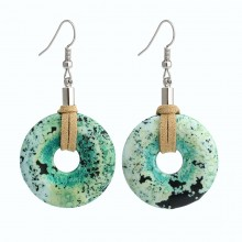 Aobei Pearl --- Handmade Earring with Natural Turquoise and Suede (Korean Velvet ), Dangle Earring, ETS-E271