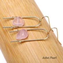 Aoebi Pearl Handmade Personalized Earring made of Natural Stone Beads and Alloy Accessory, Bead Earring, Dangle Earring, ETS-E282
