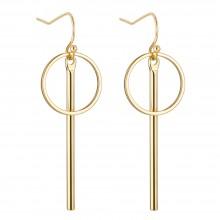 Aobei Pearl Dainty Vertical Bar Dangle Earring made of 18K Gold Plated Copper, Handmade Karma Circle Drop Earring for Women, ETS-E286