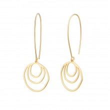Aobei Pearl Dainty Brushed Half Round Dangle Earring, Gold Hollow Circle Drop Earring for Women, Hoop Earring, ETS-E295