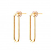 Aobei Pearl Pin-shaped Circle Hoop Earring, Dainty Gold Stud Earring, Handmade Jewelry for Women, ETS-E296