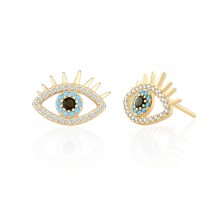 Aobei Pearl Dainty Evil Eye Earring Cubic Zirconia Stud Earring for Women Gemstone Post Earring Handmade Fashion Jewelry, ETS-E310