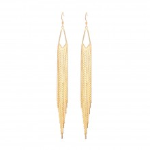 "Aobei Pearl ,18K Gold Plated Tassel earrings ,5.5"" long fringe earrings,screw thread fishook with soft silicone earring back,chandelier sleek herringbone chain,Fine handmade jewelry,long chain earrings for women ETS-E312"