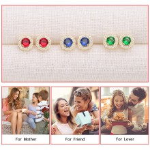 Aobei Pearl ,3-color 18k gold plated copper earrings ,Synthetic red gemstone, silica gel and gold butterfly earring nuts,Jewelry for Women,ladies gifts ETS-E314