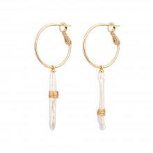Aobei Pearl ,18K gold-plated earrings,freshwater pearlearring,gold wire winding earring,classic accessories earrings,golden earrings,Jewelry for Women,fashion ladies gifts ETS-E323