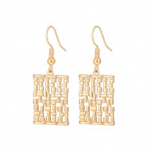 Aobei Pearl Dainty Braided Square Dangle Earring, Gold Hollow Square Drop Earring for Women, Hook Earring, ETS-E325