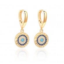 Aobei Pearl Dainty 18K Gold Small Huggie Hoop Evil Eye Drop Dangle Earring, Micro-inlaied Cubic Zirconia Earrings for Women Girls, Shiny Gemstone Earring, ETS-E330