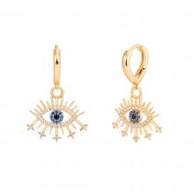 Aobei Pearl Dainty 18K Gold Teardrop Huggie Hoop Blue Evil Eye Drop Dangle Earring, Micro-inlaied Cubic Zirconia Earrings for Women Girls, Shiny Gemstone Earring, ETS-E331