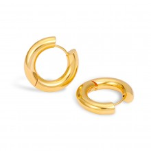 Aobei Pearl Handmade 18K Gold Round Huggie Hoop Earring for Women Girls, Fashion Gold Ear Jewelry, ETS-E333