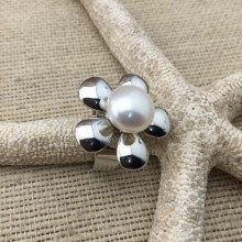 Aobei Pearl, Handmade Ring made of 11-11.5 mm Button Freshwater Pearl and Copper Accessory Plated with White Gold, Pearl Ring, Bride Ring, Fashion Ring, ETS-J003