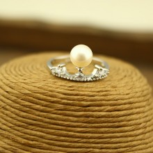 Aobei Pearl, 925 Sterling Silver Crown Freshwater Pearl Ring, Crown Ring, Love Gift for Her, ETS-J015