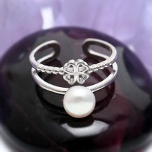 Aobei Pearl, Handmade Ring, Clover-pattern Ring, Open Ring, String Silver Ring, Pearl Ring, Fashion Ring, Wedding Ring, Party Ring, ETS-J037