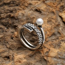 Aobei Pearl, Personal Ring, Pearl Earring, String Silver Ring, Open Ring, Fashion Ring, ETS-J039