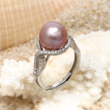 Aobei Pearl, Open Ring made of 11-12 mm Purple Round Freshwater Pearl and Micro-inlaid 925 String Silver Accessory, Exquisite Ring, Wedding Ring, ETS-J048