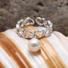 Aobei Pearl, Exquisite Ring with 7-7.5 mm White Round Freshwater Pearl & Micro-inlaid String Silver Accessory, Open Ring, ETS-J049