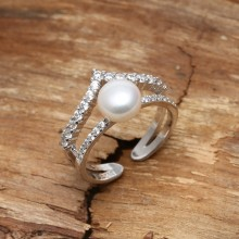 Aobei Pearl, Exquisite Ring with 7-7.5 mm White Button Freshwater Pearl & Micro-inlaid 925 String Silver Accessory, Open Ring, Crown Ring, ETS-J050