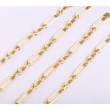 Aobei Pearl, 1 Meters from the Sale, 18K Gold-Plated Large Oval and Small Oval to Make a Round Chain for Jewelry Making, Jewelry Findings, DIY Jewelry Material, ETS-K1271