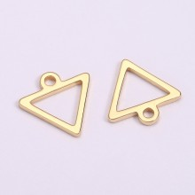Aobei Pearl, 20 PCS from the Sale, 18K Gold-Plated Hollow Triangle Bar Charm for Jewelry Making, Jewelry Findings, DIY Jewelry Material, ETS-K1299