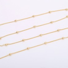 Aobei Pearl, 2 Meters from the Sale, 18K Gold Satellite Chain for Jewelry Making, Jewelry Findings, DIY Jewelry Material, ETS-K245